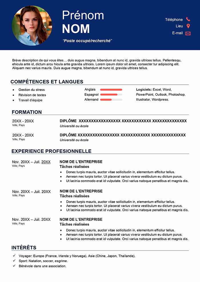 Exemple de CV Canadien Gratuit à Télécharger CV Word en