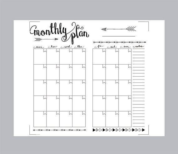 Pin by Deanna Aldridge on Bullet Journaling Pinterest – Printable Monthly Planner