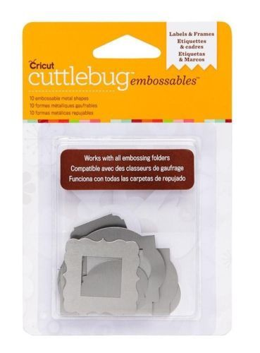 Cricut Cuttlebug Labels Frames Silver Embossables Metal Shapes | eBay