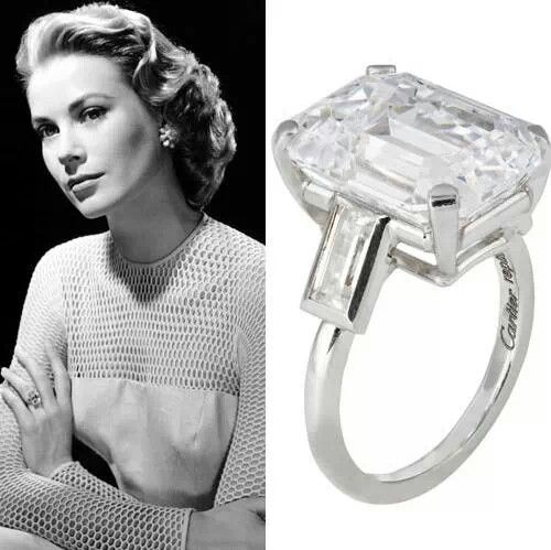 Grace Kelly 10.5 Carat Engagement Ring. Emerald Cut Stone Is Amazing