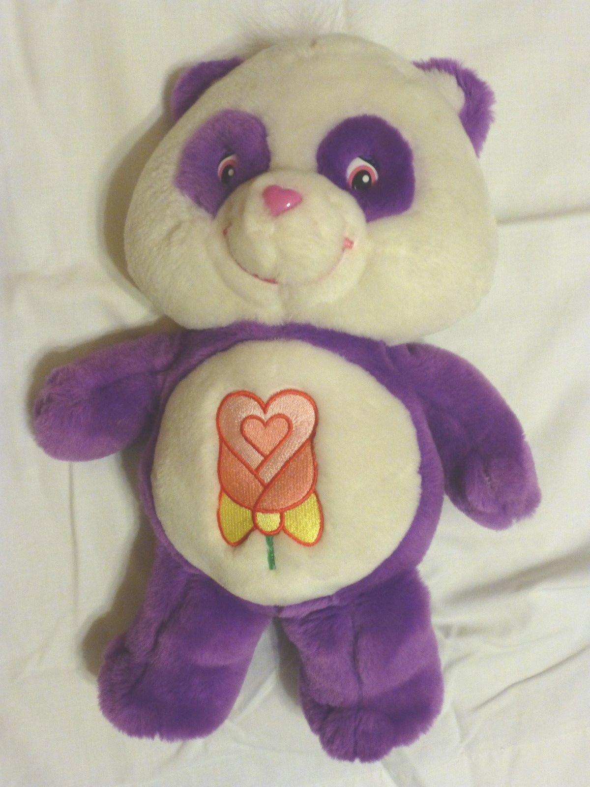 f20cac01b2c Care Bears TALKING POLITE PANDA Purple Plush w  Rose Stuffed Animal Bear