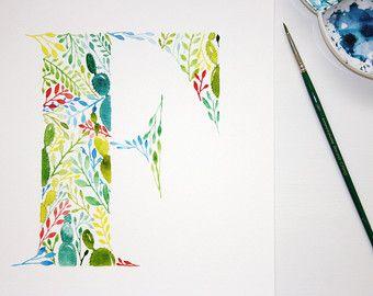 Letter L Wall Art Print Watercolour Artwork Hand Painted Nursery Decor Initial Print Letter L Watercolour Painting Botani Flores Acuarela Acuarela Dibujos
