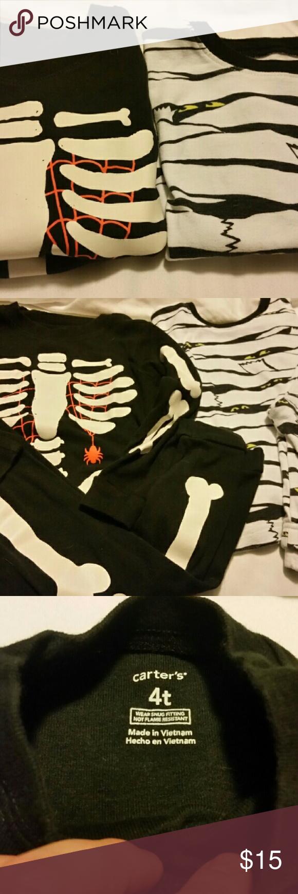 Halloween Pj's 4T Bones on Skeleton & Eyes on mummy glow in the dark!!! Light wear my son outgrew 4T fairly quickly! EUC Carter's Pajamas Pajama Sets