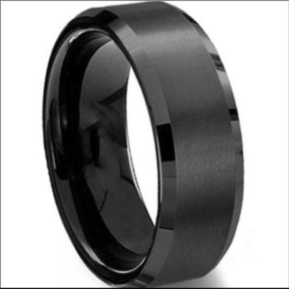 Mens Black Titanium Wedding Band Ring Mens Stainless Steel Rings Titanium Steel Rings Black Titanium Ring