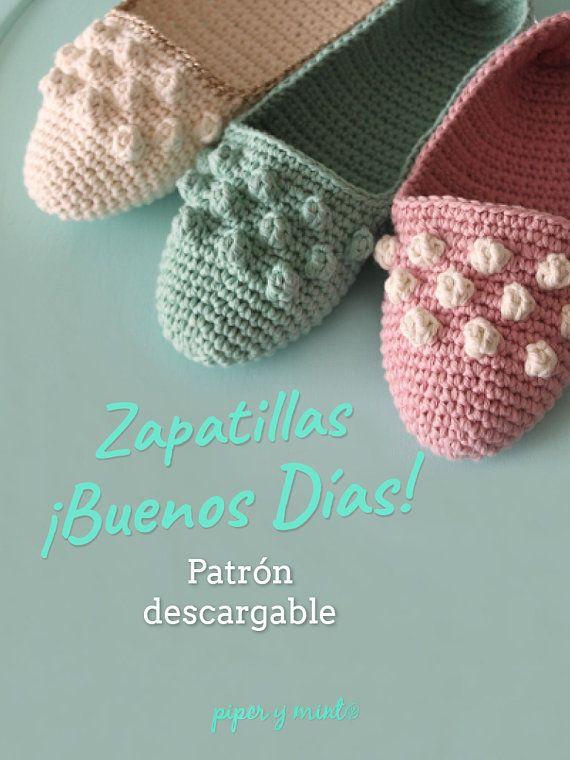 Patron PDF Crochet - Zapatillas ¡Buenos días! - Piper y Mint ...