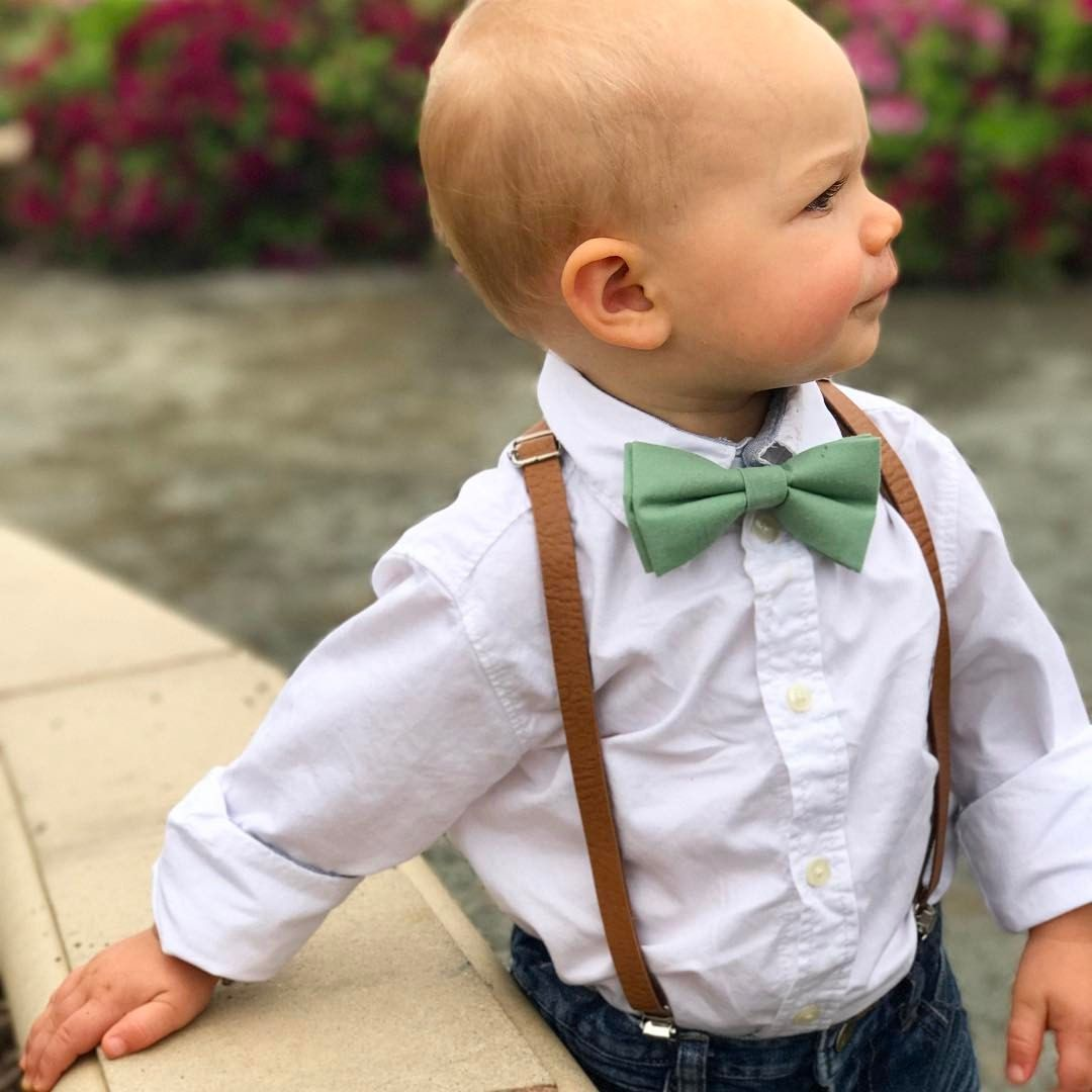 Bow Tie Combo Set Wedding Toddler Kids Boys Girls Baby New Brown Suspender