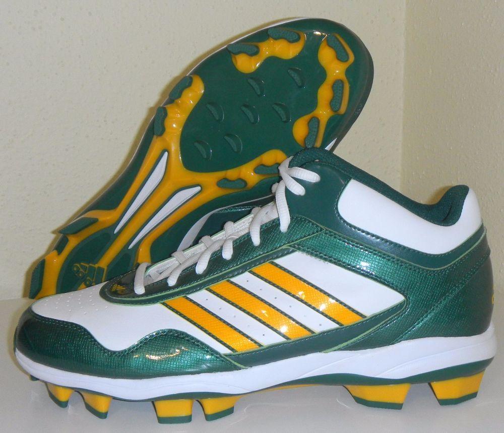 c805c8f8ac0 New Adidas MCS Oakland A s Green Yellow White Sample PE Baseball Cleats Sz  12  Athletics  adidas