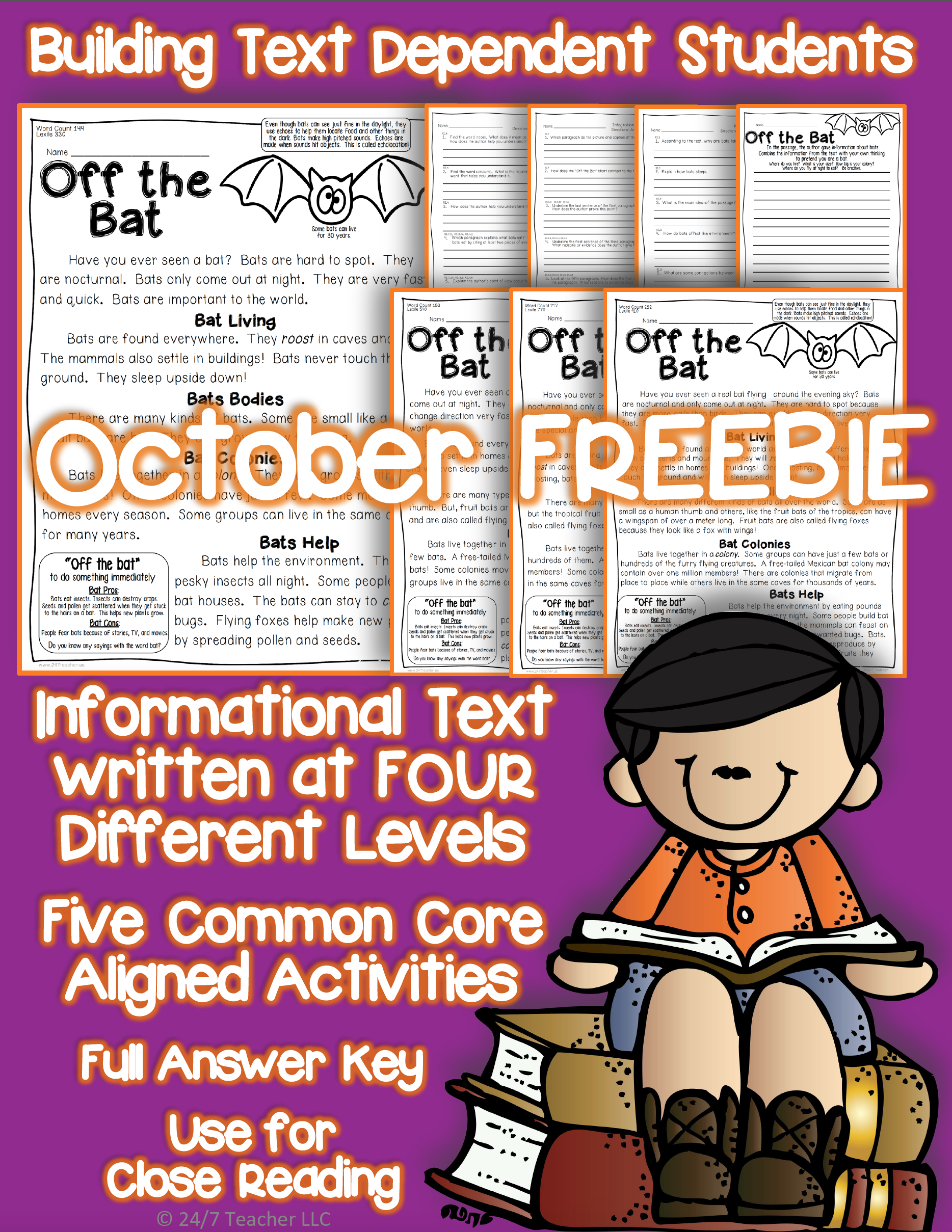 October Freebie Bats Close Reading Passage With Common
