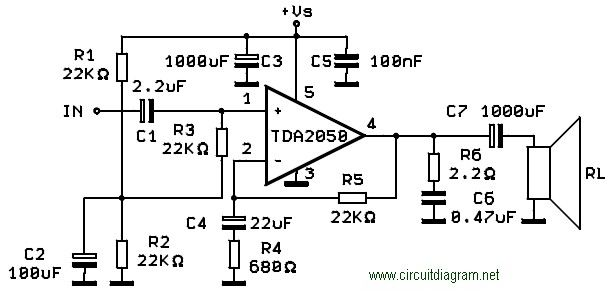 Tda2050 35 Watt High Fi Audio Power Amplifier Circuit Diagram