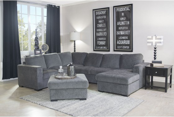 Claire Sectional Living Room In Gray Mor Furniture For Less