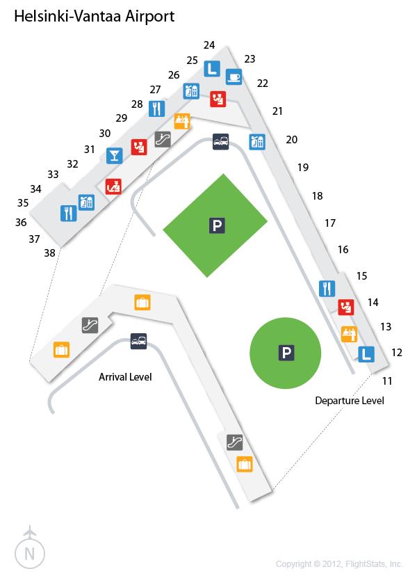 (HEL) HelsinkiVantaa Airport Terminal Map Airport