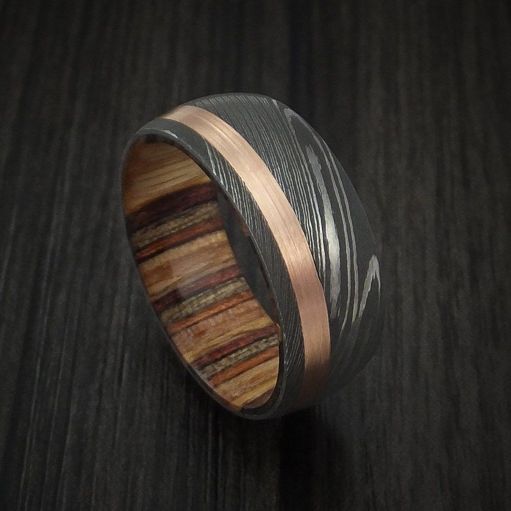 Damascus Steel And 14k Rose Gold Ring With Hazelbut Hardwood Sleeve Custom Made Band By Revolution
