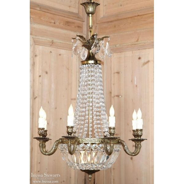 Antique Lighting | Antique Chandeliers | French Sack of Pearls Crystal Chandelier | www.inessa.com