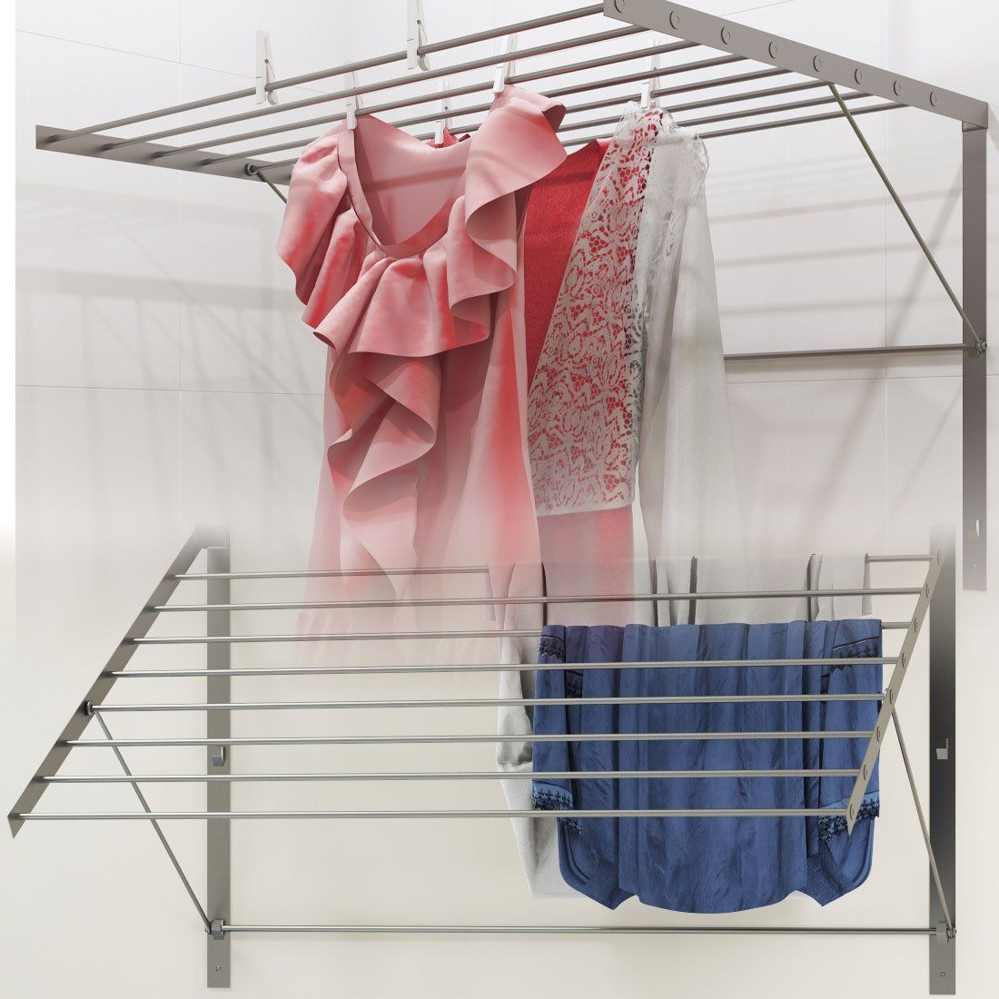 Amazon Com Clothes Drying Rack Stainless Steel Wall Mounted
