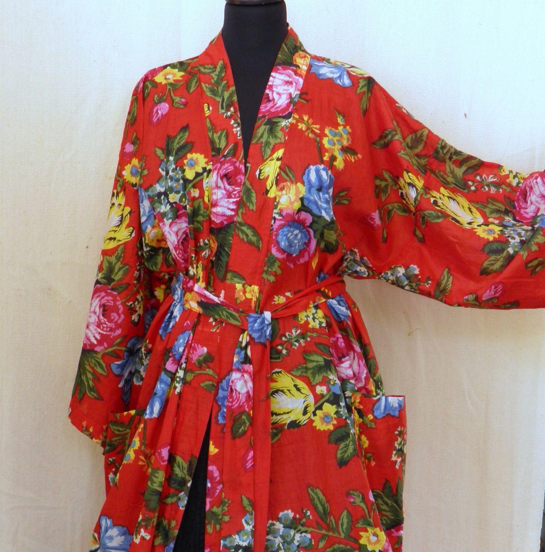 kimono robe de chambre rouge en coton imprimé Shalimar Autres