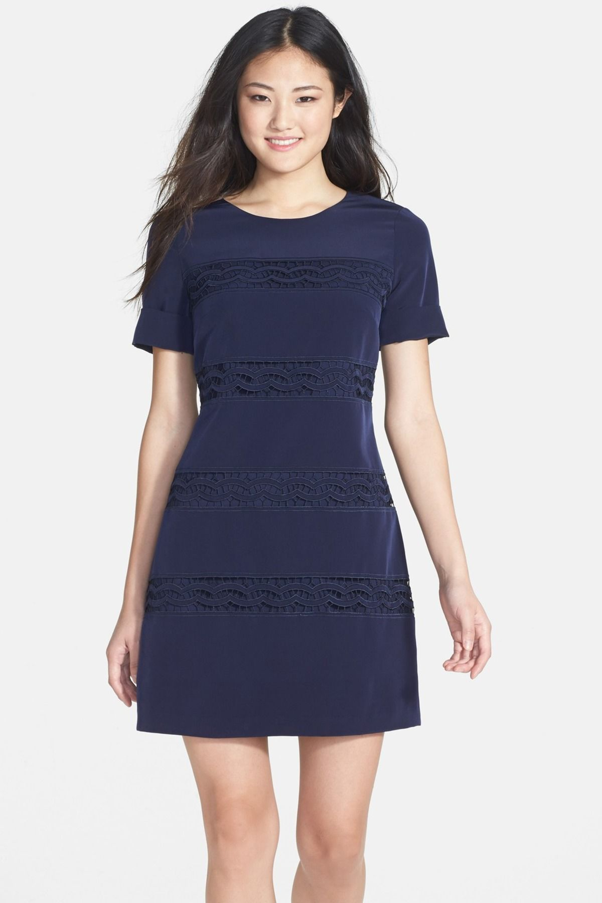 Jessica simpson lace inset short sleeve shift dress clothing and