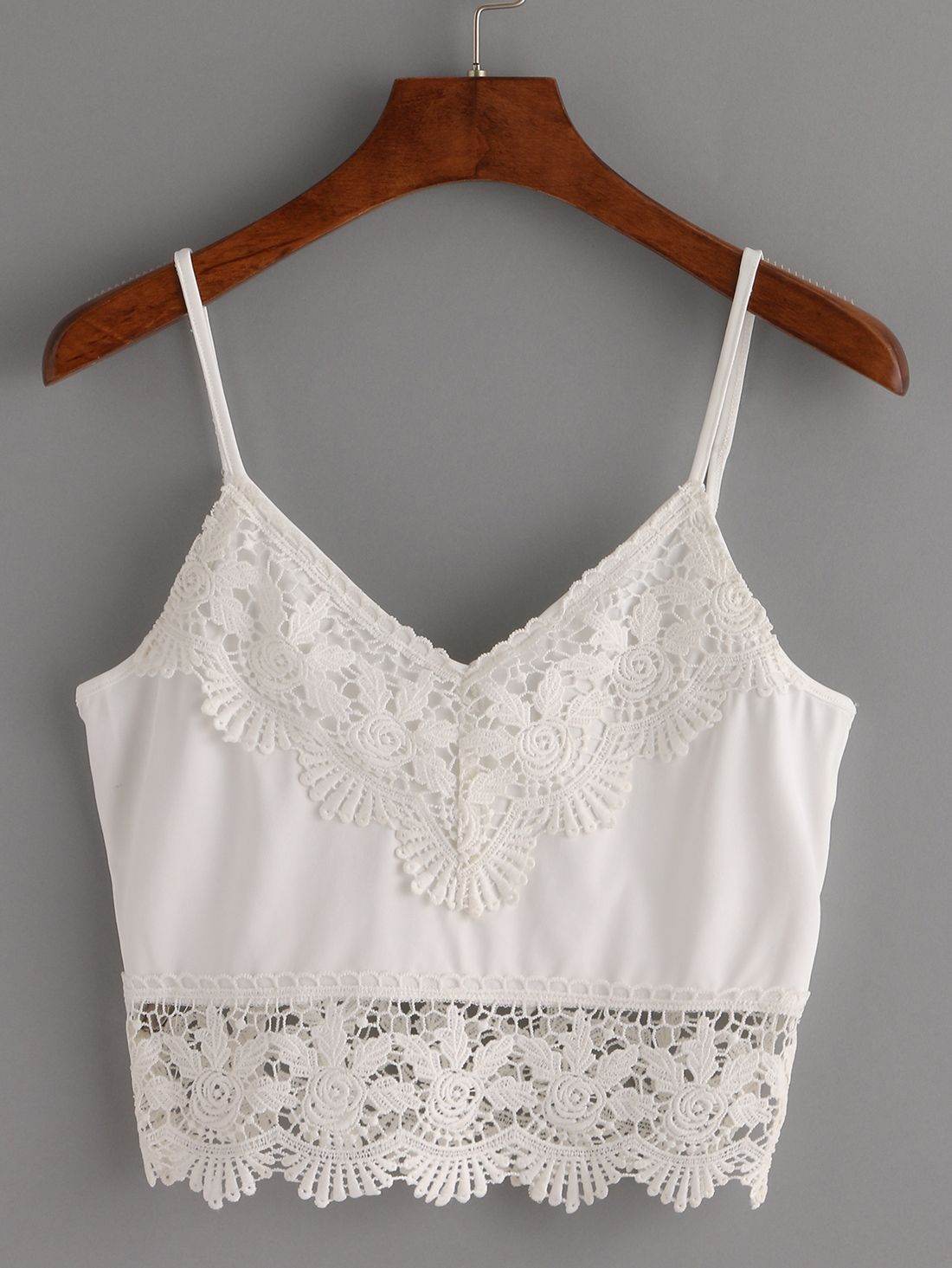2a1bd6a897a6d Top ribete de crochet crop tirante fino -blanco-Spanish SheIn(Sheinside)