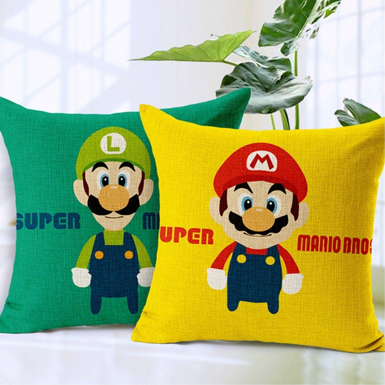Super mario bros printed cushion cover sofa linen cotton throw