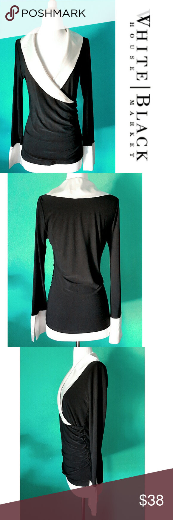 Faux Wrap Blouse Beautiful faux wrap top with silky collar and sleeve caps. Figure fitting and crinkle detail on the side. Classy combination of black and creme color. 92% polyester 8% spandex. In excellent LIKE NEW condition. White House Black Market Tops Blouses