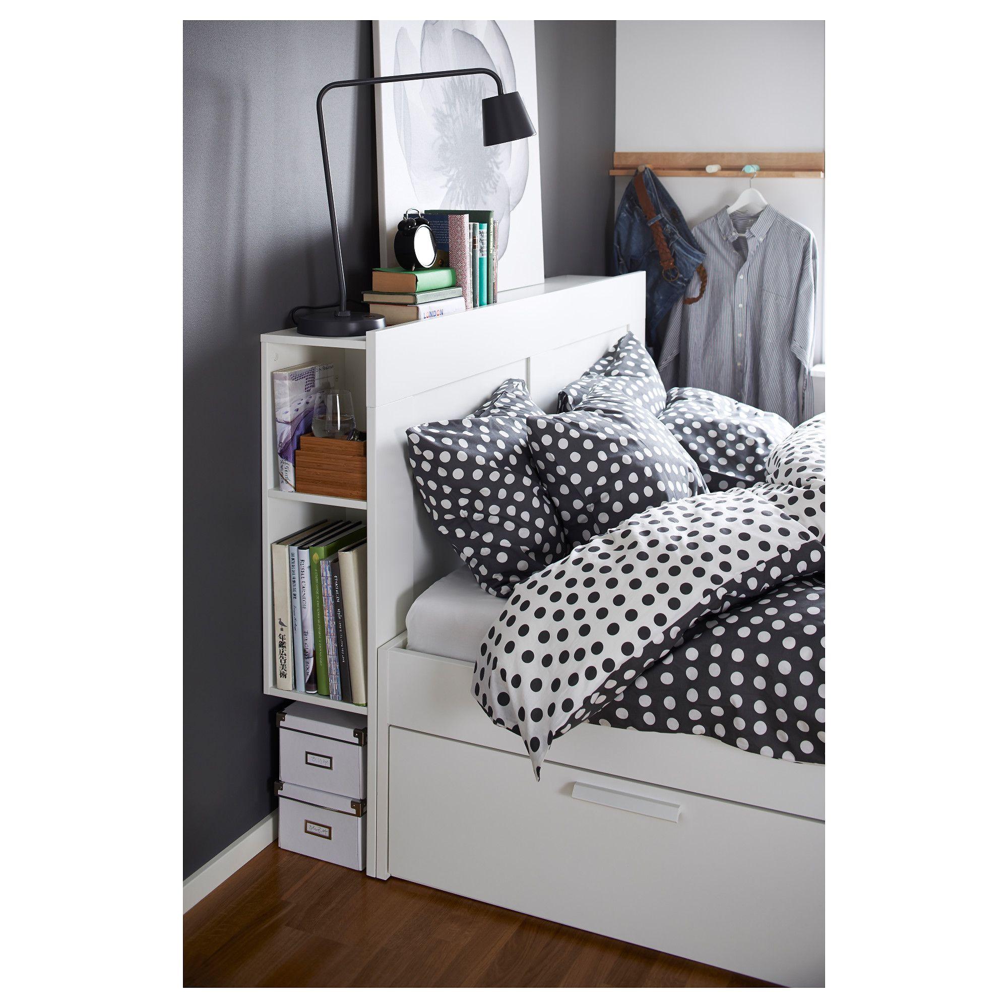 daf2480785d BRIMNES Bed frame with storage   headboard
