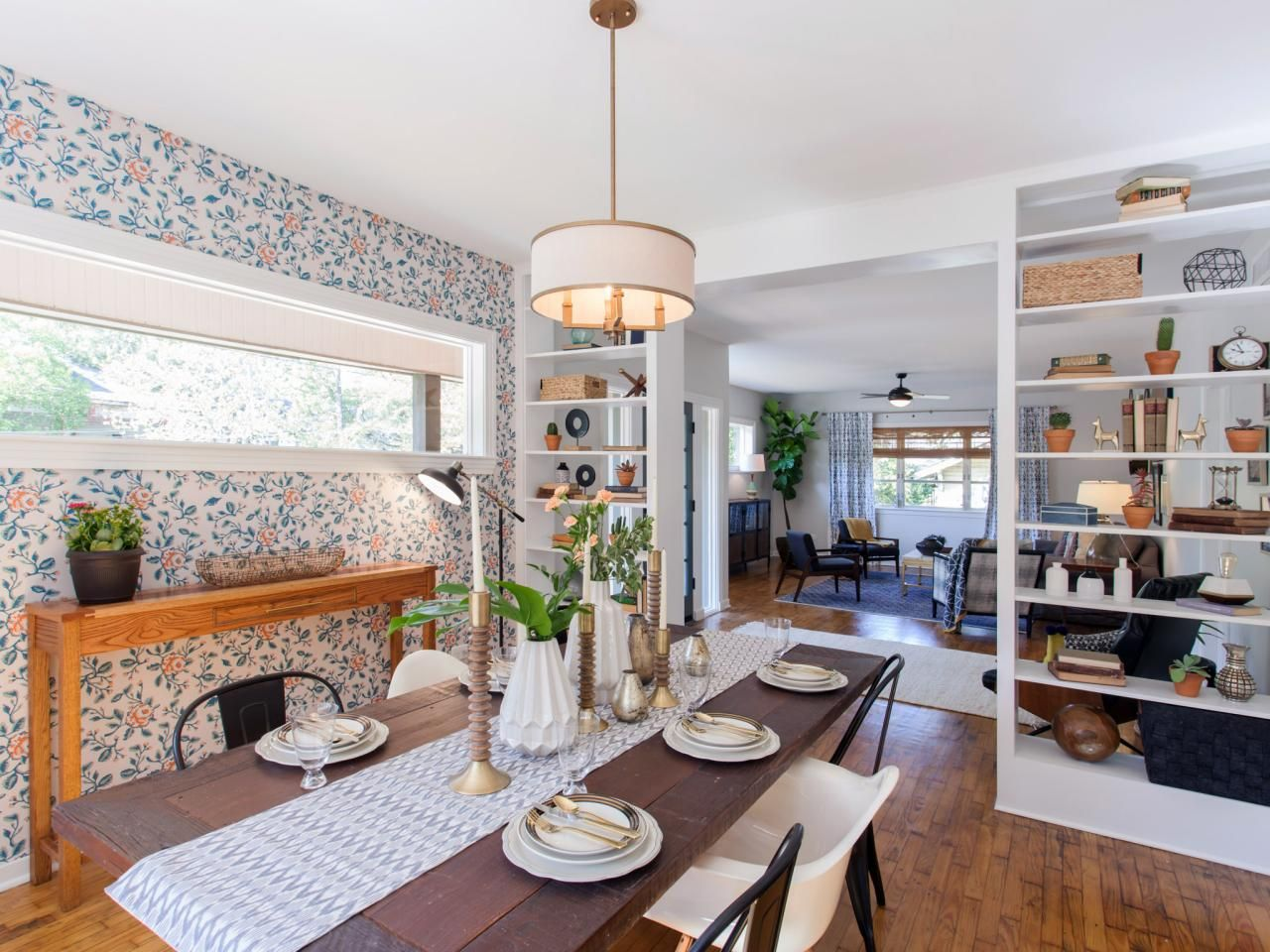 Home Town From Hgtv How Pretty Is That Custom Wallpaper I Love This Bright Eclectic Traditional Modern Dining Ro Home Town Hgtv Home Small Town Living