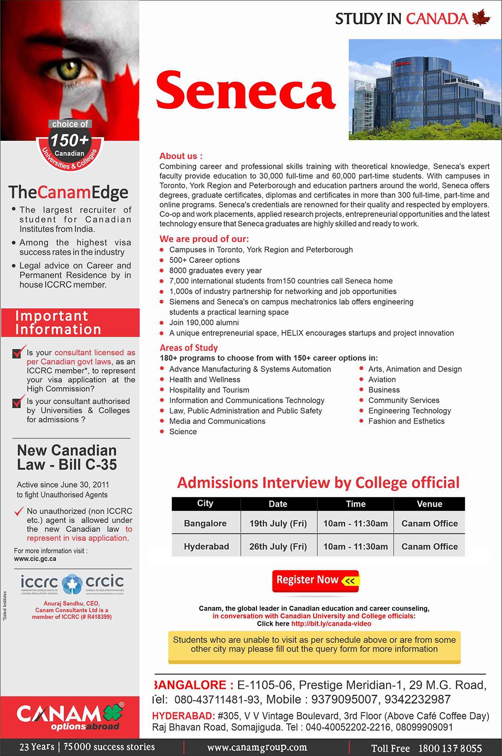 Study In Seneca College Canam Consultants Seneca College College Website Feedback For Students