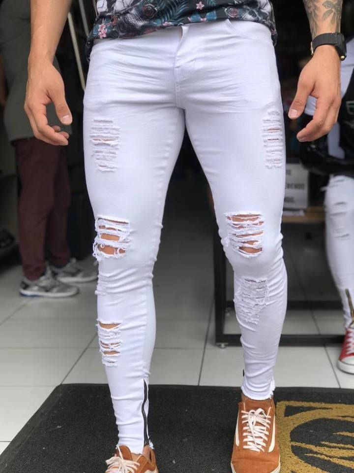 a260cd5d1 Calça White Skinny Destroyed C/Zíper Lateral - Kawipii in 2019 ...