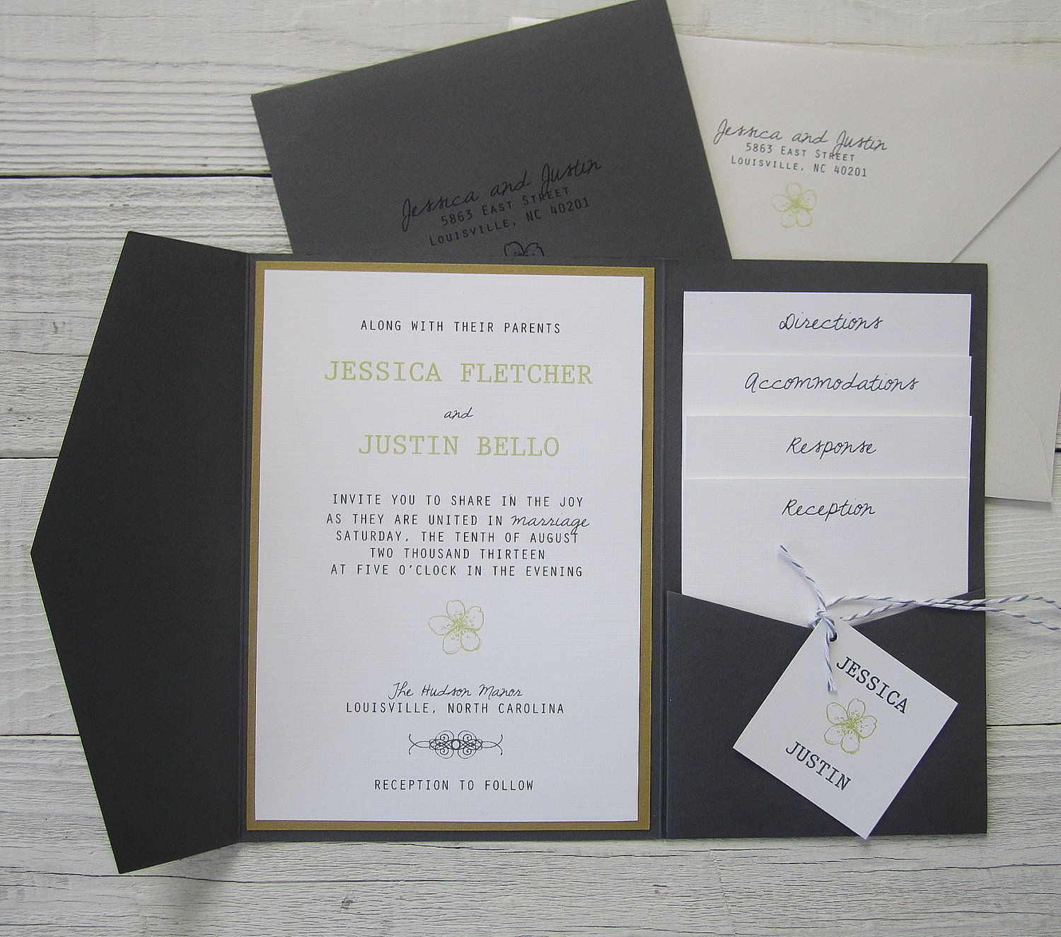 Grey and Yellow Wedding Invitation - Pocketfold Spring Floral Twine ...