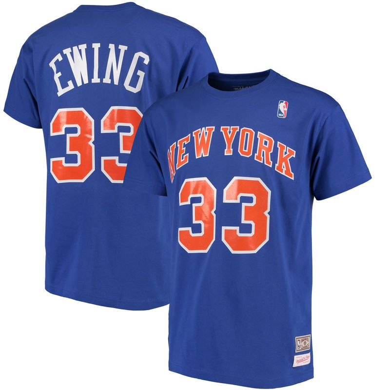 70135d128f6 Patrick Ewing New York Knicks Mitchell   Ness Hardwood Classics Retro Name    Number T-Shirt - Royal