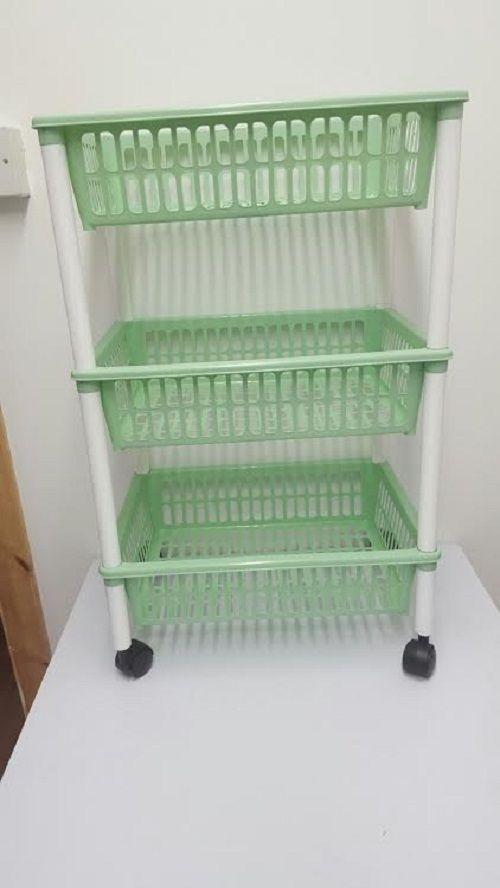 Plastic 3 Tier Vegetables Storage Basket Trolley Fruit Shelf Rack