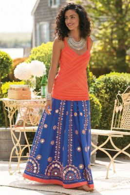 Marrakesh Skirt I - Cotton Maxi Skirt, Embroidered Long Skirt, Long Beaded Skirt | Soft Surroundings