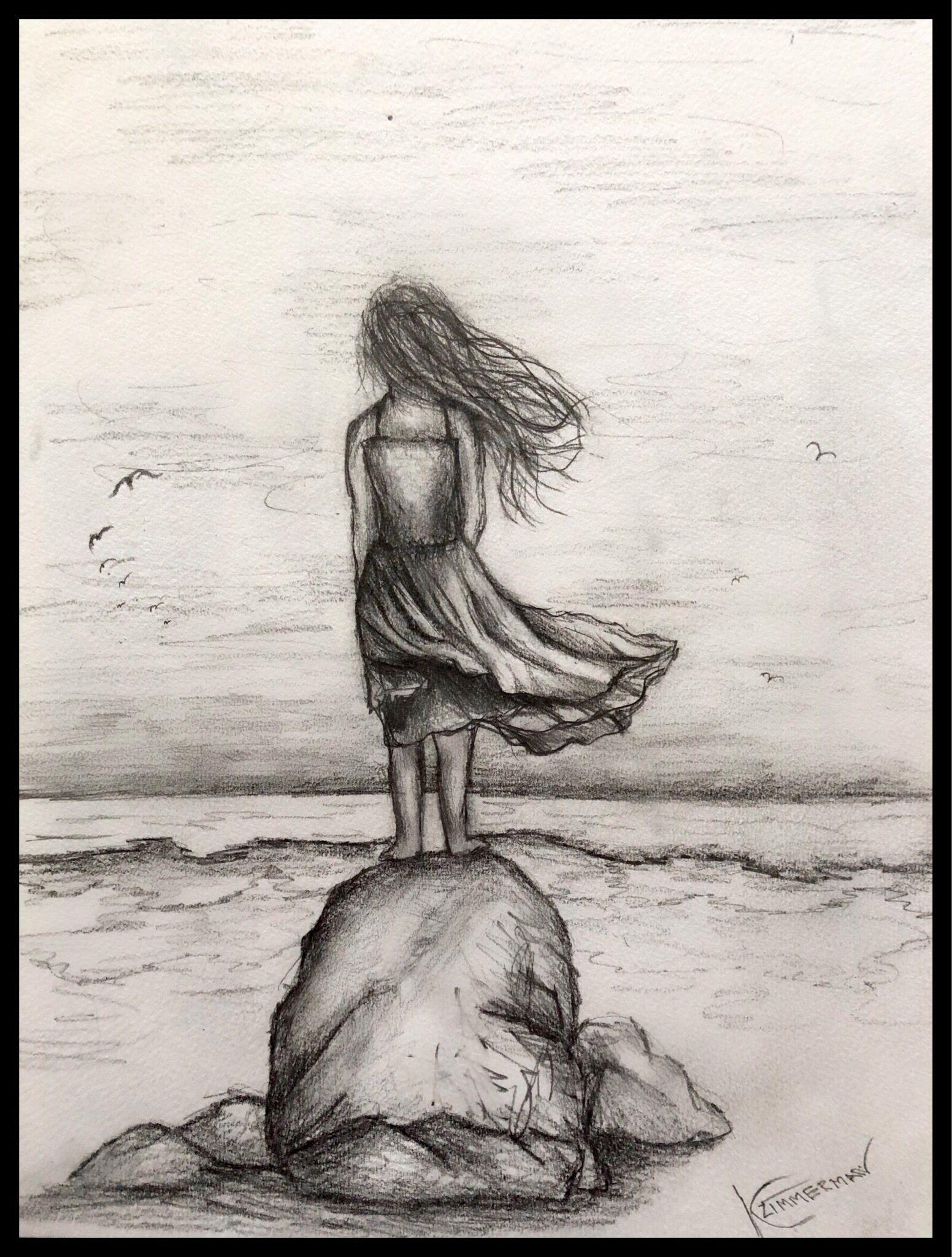 Van-Go Paint-By-Number Kit Standing Woman Watching the Ocean