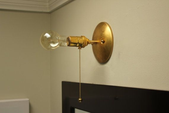 Industrial Pull Chain Light Wall Sconce Raw Brass Mid