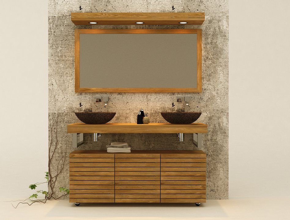 Muebles de ba os en madera de teca accesorios de ignisterra decoraci n pinterest searching - Muebles para bano en madera ...