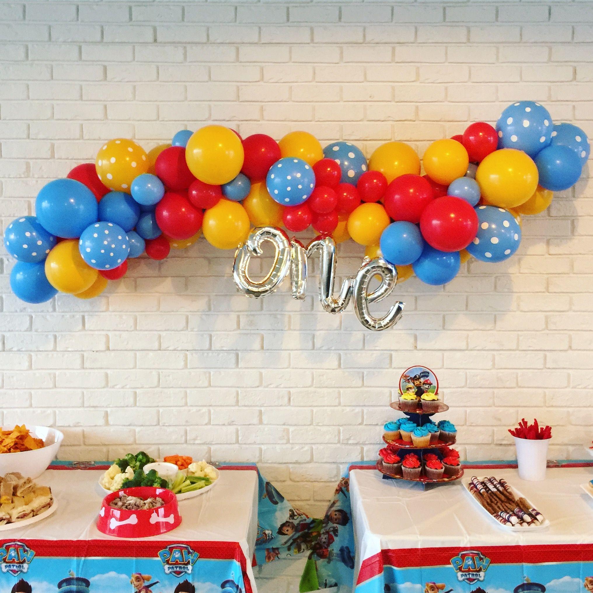 Baby Boy Balloon Decor Airplane Paw Patrol Theme First Birthday