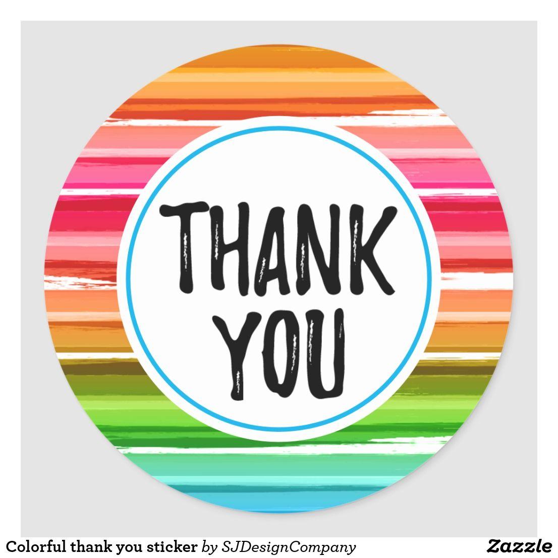 Colorful Thank You Sticker Zazzle Com Thank You Stickers Thank You Poster Thank You Pictures