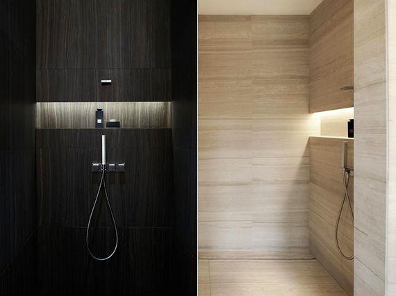 moderne dusche mit eingebaite aufstellfläche und indirekter ...