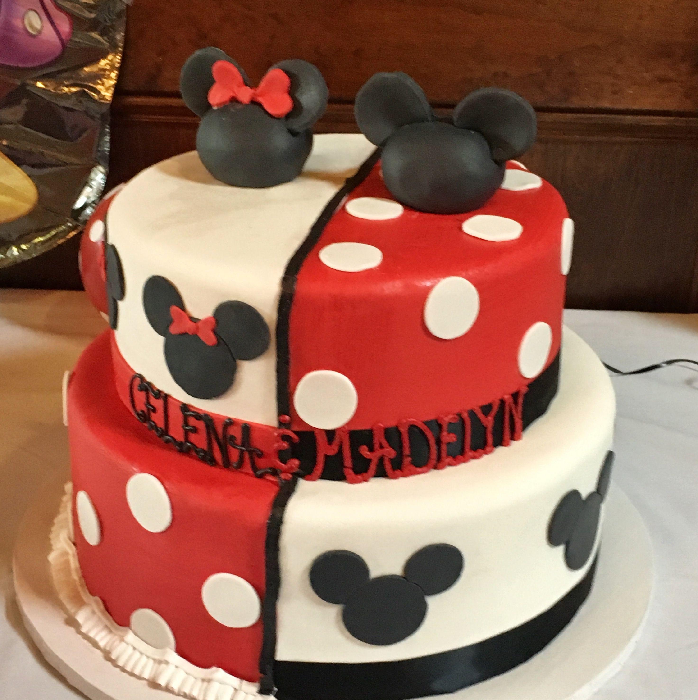 Split Mickey Minnie Cake For My Twins Oh Two Dles Birthday Minnie Mouse Birthday Cakes Twin Birthday Cakes Minnie Birthday Party