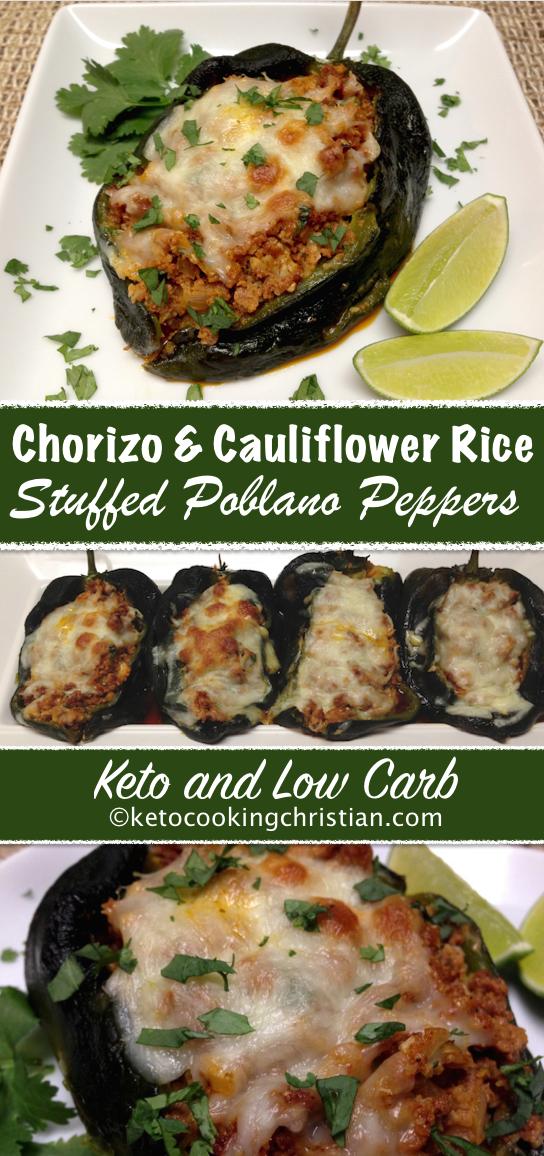 Chorizo And Cauliflower Rice Stuffed Poblano Peppers Keto And Low Carb Stuffed Peppers Stuffed Poblano Peppers Chorizo Recipes Dinner