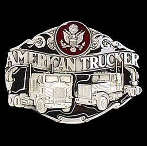 American Trucker Enameled Belt Buckle