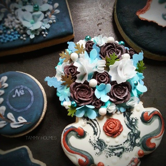 Fondant & paper flowers, edible confetti flowers & leaves, dragees and of course, royal icing... all atop an organic light lemon cookie, makes for a lush & delicious, 100% edible bouquet.  #custom #edibleflowers #edibleconfetti #tammyholmes #chicago