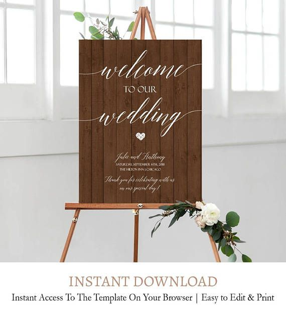 Wooden Welcome Sign Wedding Welcome Signage Template Wood Welcome