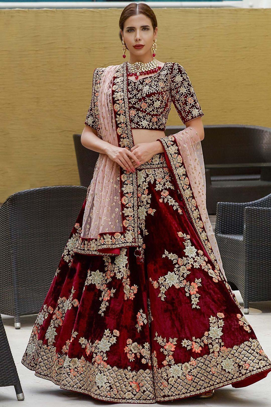 maroon wedding dress indian