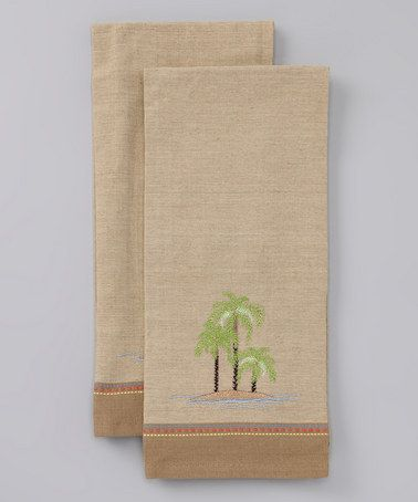 Take A Look At This Palm Tree Dish Towel  Set Of Twocoastal Mesmerizing Kitchen Towel Design Inspiration