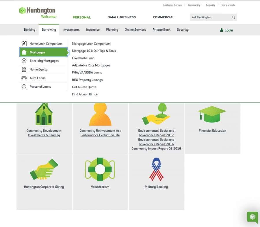 Huntington Savings Bank Dropdown Menu Design Menu Design Web Design Design