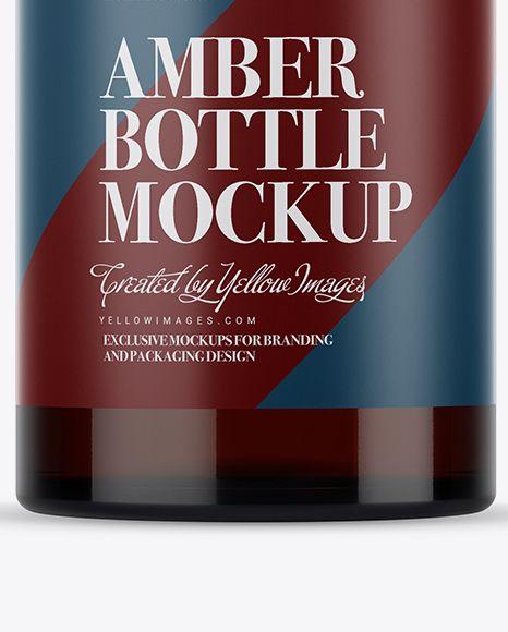 Amber Glass Bottle With Handle & Wax Top Mockup