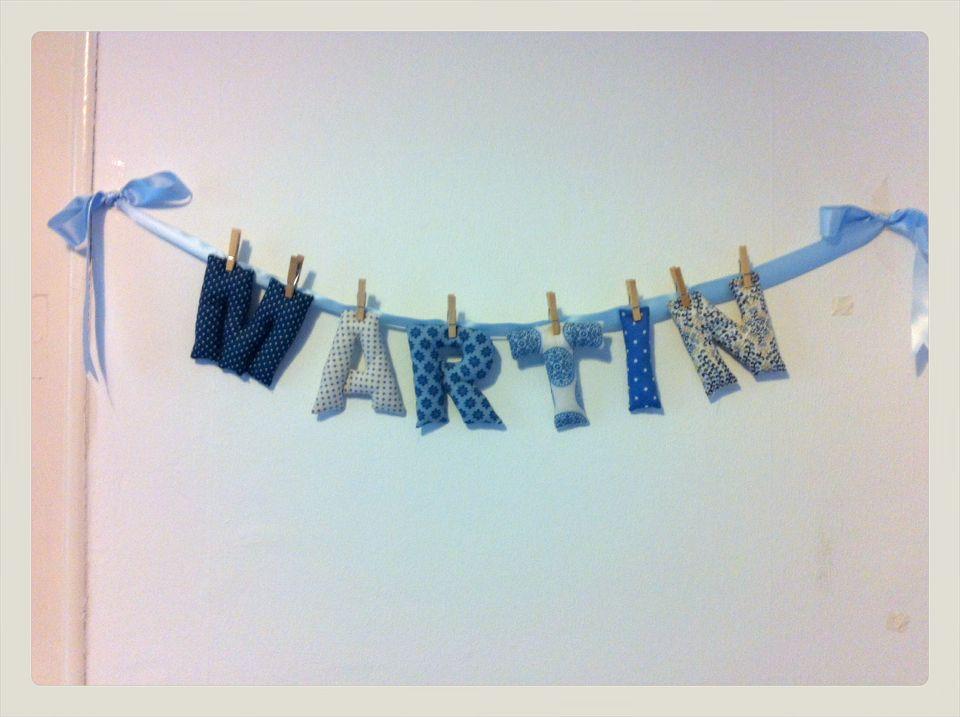 Guirnalda de letras hechas en tela nombre mart n en - Guirnaldas de tela ...