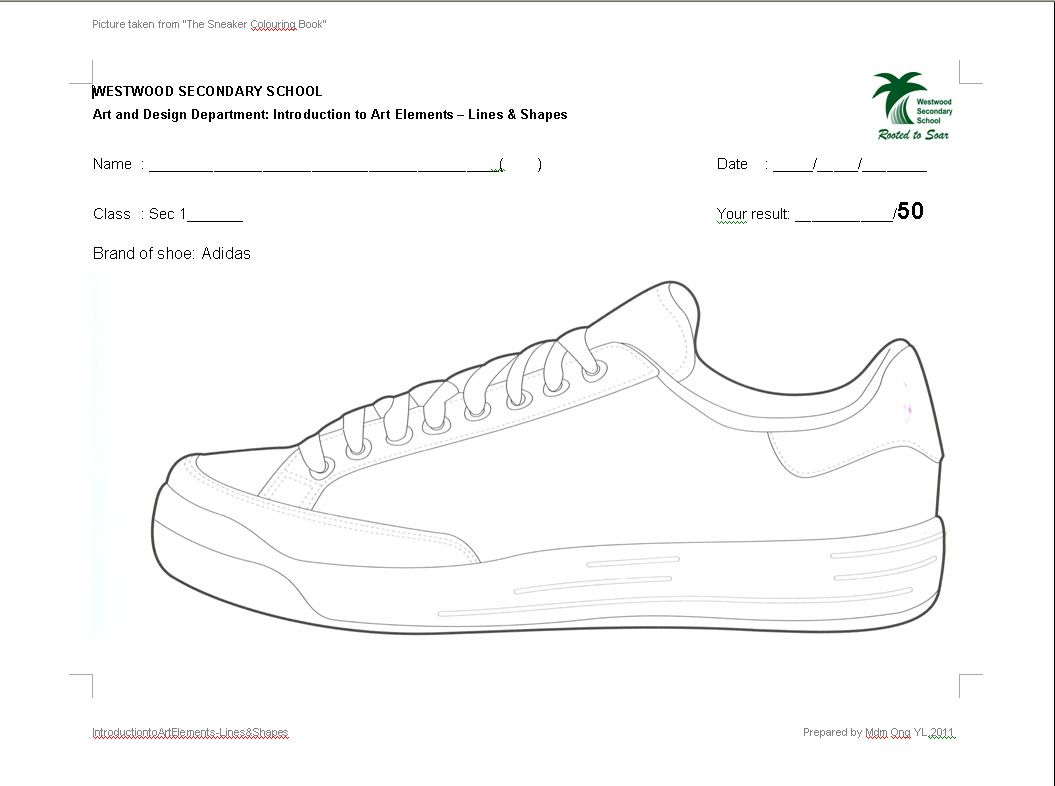 Westwood Art Shed: Sec 1 Art: Lines & Shapes Worksheets Have different  sheets of shoe bases, then have students use elements of art to create  their own shoe ...