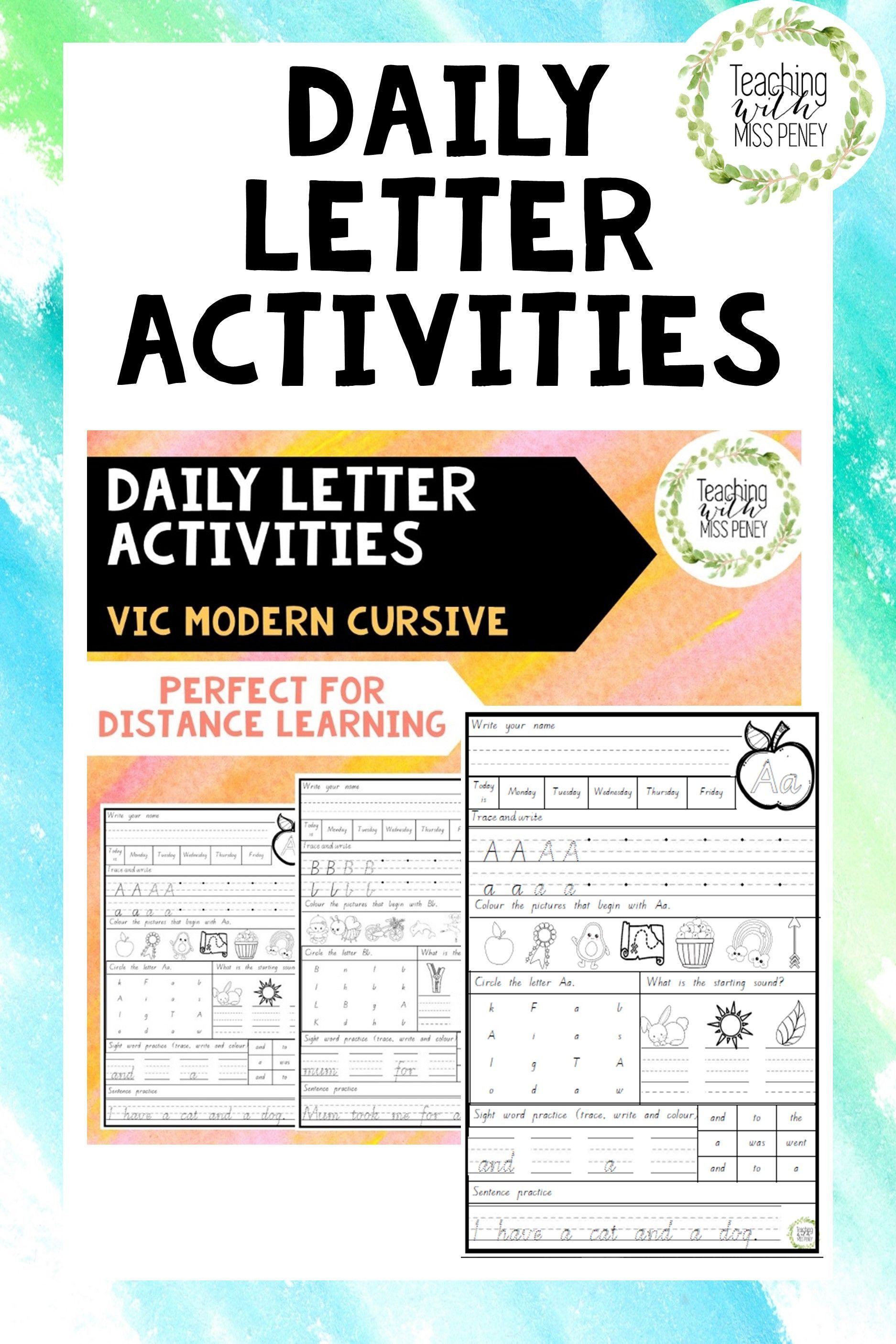 Daily Letter Activities Victorian Modern Cursive In