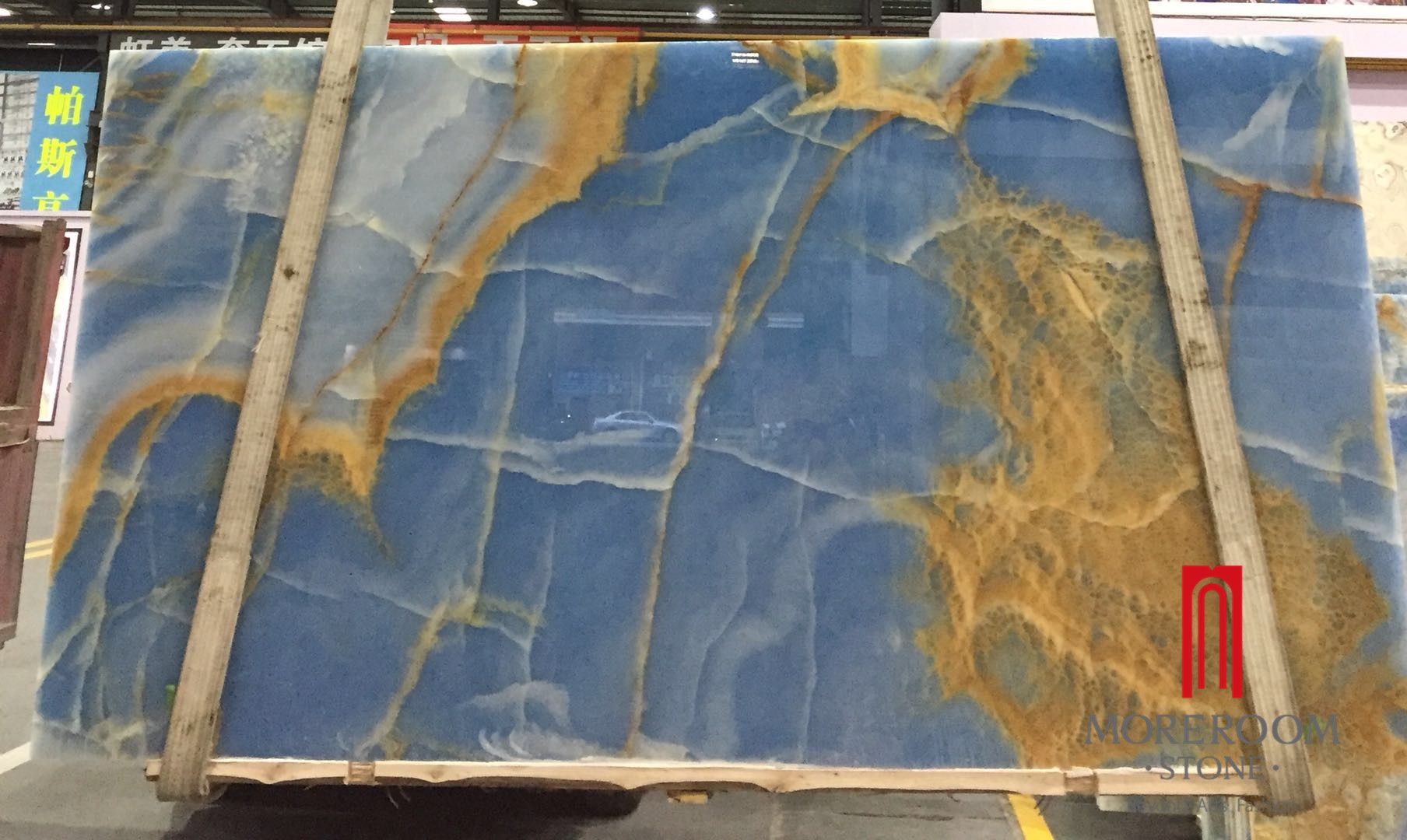 Blue Onyx Slab, with yellow beige veins Natural Onyx Marble Slab ...